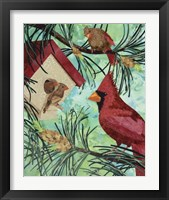 Framed Cardinals And Birdhouse