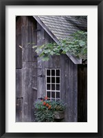 Framed White Window on an Old Wooden House