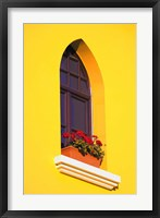 Framed Bright Yellow Wall with Red Flowers on Sill