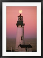 Framed Lighthouse Against Pink and Red Sunset