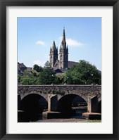 Framed Cobblestone Bridge with Clock Tower