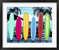 Framed Woody & Surfboards