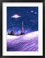 Framed Blue UFO Night