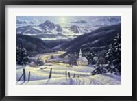 Framed Mountain Village In Winter