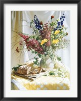 Framed Wild Flowers And Yellow Quilt W/Bread