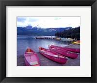 Framed Four Pink Boats, Canadian Rockies 06