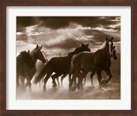 Framed Running Horses And Sunbeams, Rothbury, Michigan