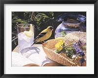 Framed Goldfinch On Straw Hat