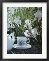 Framed Chickadee And Teacup