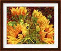 Framed Four Sunflowers