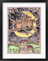 Framed Three Owl Halloween