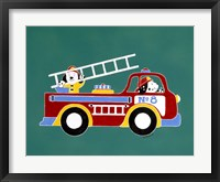 Framed No. 8 Fire Truck