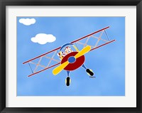 Framed Cat In A Bi-Plane