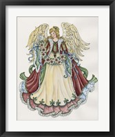 Framed Angel With Ribbon Of Pointsettias