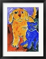 Framed Blue and Yellow Friends