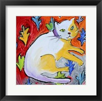Framed Kitty with Leaf Pattern