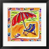 Framed Beach Chair, Umbrella, Flip Flops