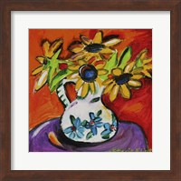 Framed Purple Table With Sunflowers