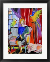 Framed Woman With Parrots And A Dog