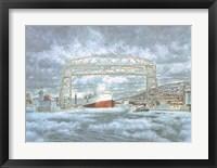 Framed Edmund Fitz Leaving Dock