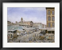 Framed Fulton Market,  NYC.1876