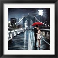 Framed Kissing on Brooklyn Bridge
