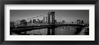 Framed Manhattan Bridge and Skyline BW