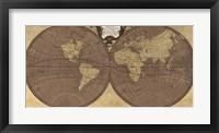 Framed Gilded World Hemispheres II