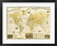 Framed Gilded 1859 Map of the World