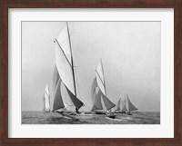 Framed Saliboats Sailing Downwind, ca. 1900-1920
