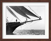 Framed Ship Crewmen Standing on the Bowsprit, 1923