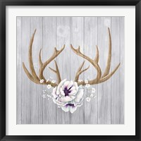 Framed Antlers and Poppies II Sq