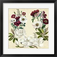 Magnolia & Poppy Wreath I Framed Print