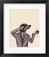 Framed Dachshund Wine Snob