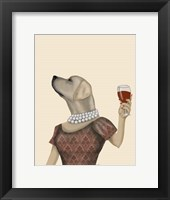 Framed Yellow Labrador Wine Snob