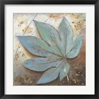 Framed Turquoise Leaf I
