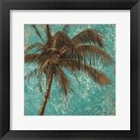 Palm on Turquoise I Framed Print