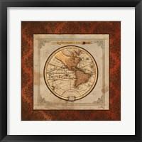 Red Damask Map I Framed Print