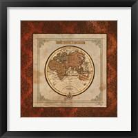 Red Damask Map II Framed Print