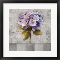 Hydrangeas & Stripes I Framed Print
