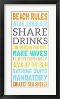 Beach Rules I Framed Print