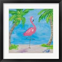 Framed Fancy Flamingos I