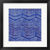 Indigo Herringbone I Framed Print