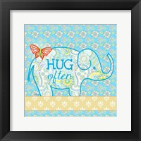 Blue Elephant I - Hug Often Framed Print