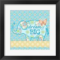 Framed Blue Elephant I - Dream Big