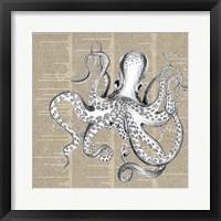 Framed Underwater Newsprint Creatures II