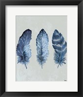 Framed Indigo Blue Feathers I