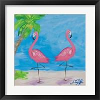 Framed Fancy Flamingos IV