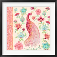 Framed Pink Medallion Peacock I
