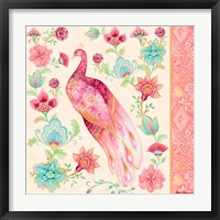 Framed Pink Medallion Peacock II